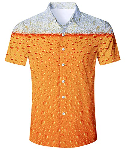 TUONROAD Summer Beach Short Sleeve Shirt 3D Printed Pattern Stylish Authentic Tropical Shirts Button Down Shirt Casual Hawaiian Aloha Shirt,Beer
