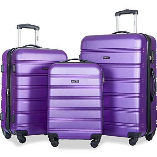Merax Travelhouse Luggage 3 Piece Expandable Spinner Set Purple by Merax