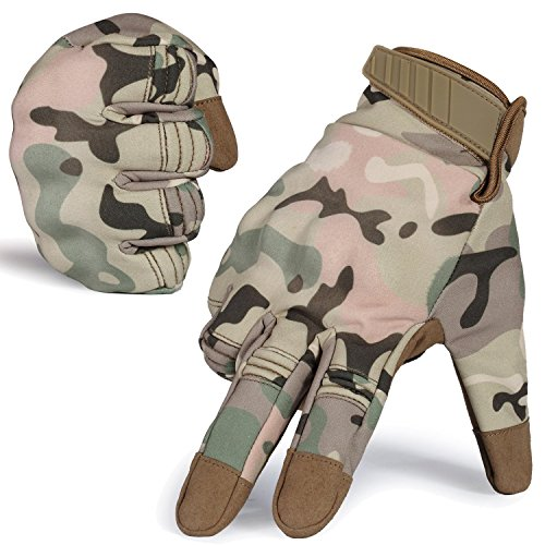 Tactical Gloves Hard Knuckle Army Military Shooting Combat Gloves for Motorcycle Cycling Riding Hunting(Camouflage, XL)