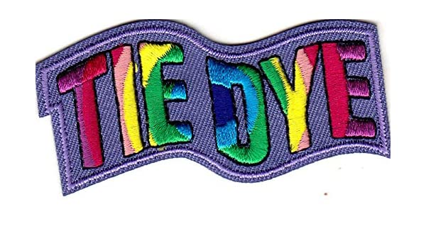 """CRAFT SKILL IRON ON EMBROIDERED PATCH /""""TIE DYE/"""" HOBBY"""