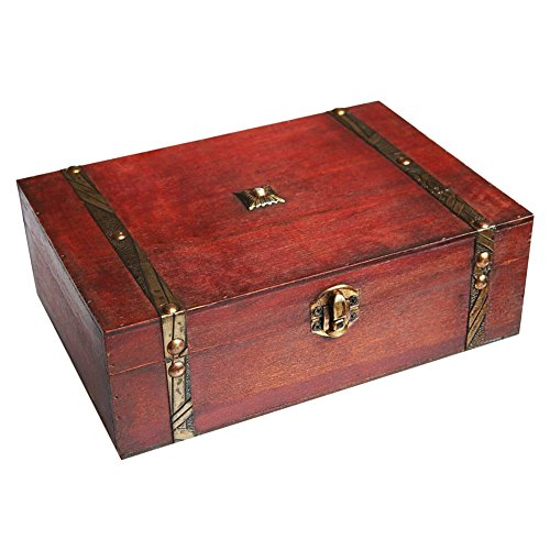 - Wooden Keepsake Collection Box with Lid, Desktop Jewelry Storage Box, Antique Household Register Credential Tool Storage Box Gift Box for Gift Box, Cards Collection, Gifts and Home Decor