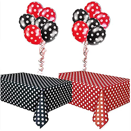 Fastcar7 Polka Dot Plastic Tablecloth and Polkadot Balloons, Cute Cartoon Polka Dot Table Cover for Birthday Party Baby Shower Metallic Ribbon Home Decoration 108 inch x 54inch Red and Black -