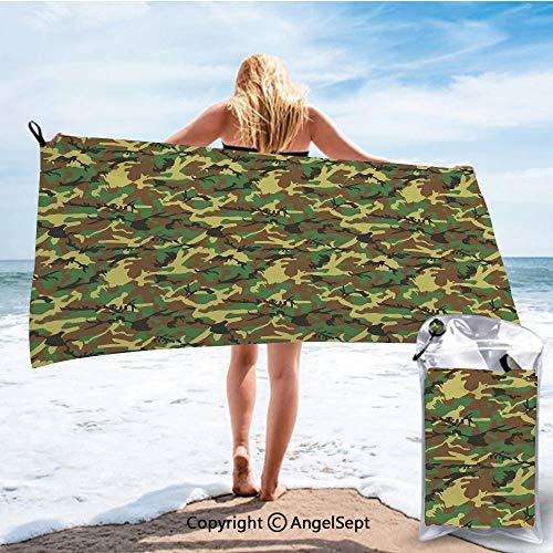 (RWNHome Towel Fashion Beach Towels for Travel - Quick Dry,Woodland Camouflage Pattern Abstract Army Force Hiding in Jungle Dark Green Light Green Brown,31.5