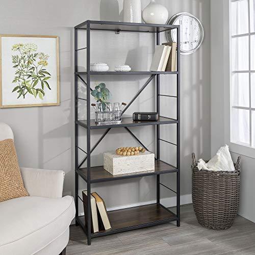 WE Furniture 4 Shelf Rustic Wood Metal Bookcase Bookshelf Storage, 60 Inch, Dark Walnut (Metal Furniture And Wood)