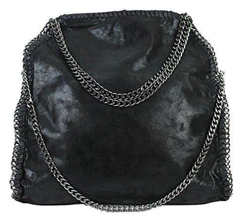 Handbag Leatherlook Ladies Shoulder Bags with Chain (Black01)