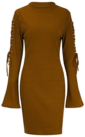 M S W Women s Sexy Fashion Bell Lace Up Sleeve Knitted Bodycon Sweater  Dresses ... fbdd81073