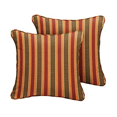 Mozaic Company Sunbrella Indoor/Outdoor 16-inch Corded Pillow, Dimone Sequoia, Set of 2 - Color:  Sunbrella Autumn Stripe Materials: Acrylic fabric, filled with 100% recycled polyester fiber Weather, mildew, fade and stain resistant with UV protection - patio, outdoor-throw-pillows, outdoor-decor - 51UQZ6FHsXL. SS400  -