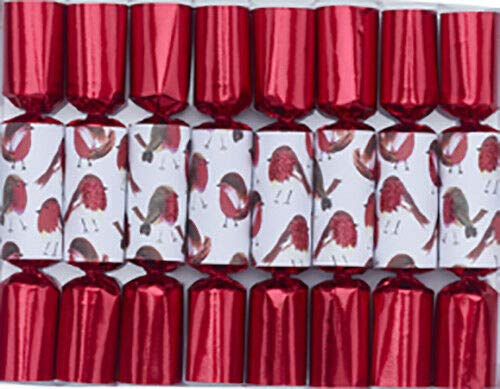 English Christmas Holiday Table Decor 8pc 6in Mini Themed Crackers - Red Glitter Robin 11801 (Christmas Themed Crackers)