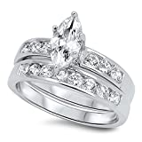 Marquise Cut Wedding Band Engagement Ring Set in 925 Sterling Silver (9)