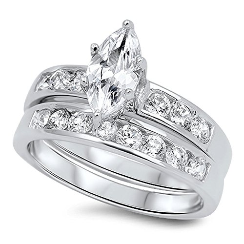Marquise Cut Wedding Band Engagement Ring Set in 925 Sterling Silver (5)