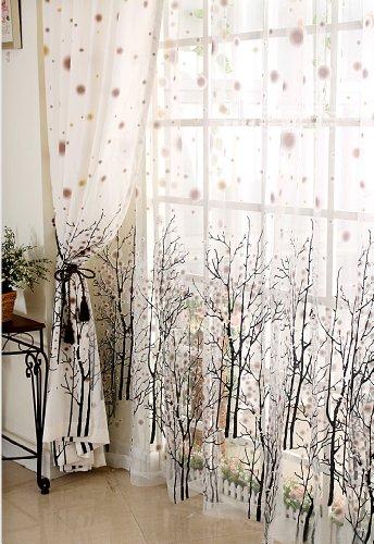 Elleweideco Modern Autumn Leaf Tree Branch Sheer Window