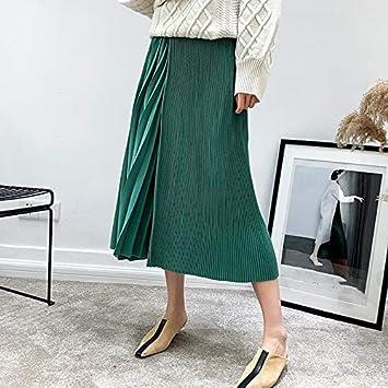 DQHXGSKS Faldas de Mujer Sólido de Cintura Alta Midi Falda Plisada ...