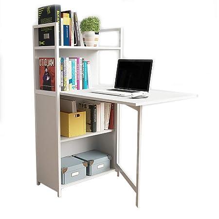 CDTO Plegable Mesa De Ordenador con Estante para Libros Escritorio ...