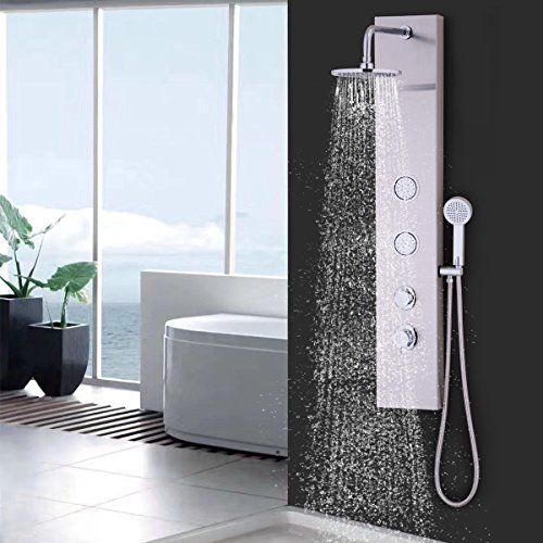 Giantex Shower Panel Rainfall Waterfall Shower Head Massage System With Massage  Jets And Hand Shower (