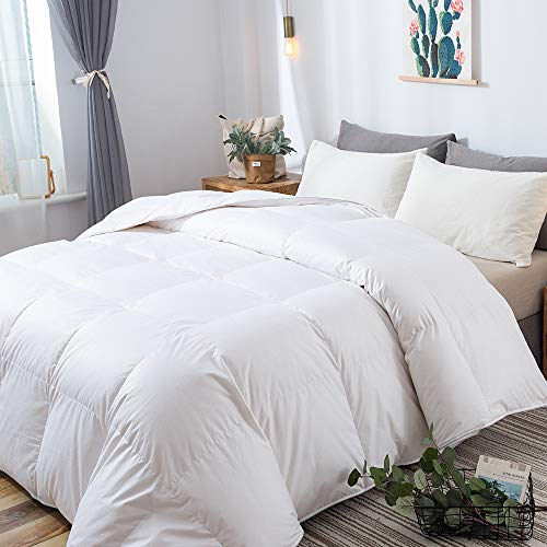 DOWNCOOL Luxurious White Goose Duck Down Comforter - 1200 Thread Count 500+ Fill Power 100% Cotton Shell All Seasons Hypoallergenic Stand-Alone Duvet Insert with Tabs, Queen/Full