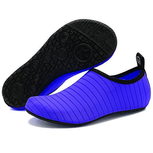 Vifuur Chaussures De Sport De Leau Pieds Nus À Séchage Rapide Aqua Yoga Chaussettes Slip-on Pour Hommes Femmes Enfants Bleu