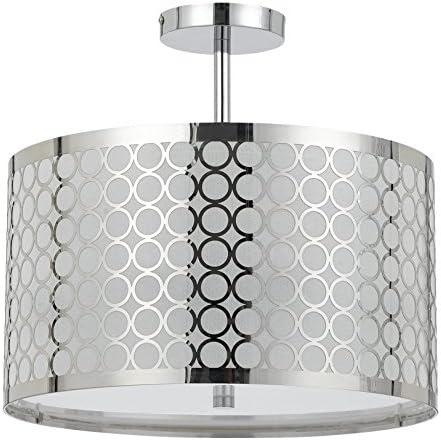 Cal Lighting FX-2293 1C 60-watt X 3 Madrid Metal Framed Drum Semi Flush Pendant Fixture, 9 x 15.5 x 14.75