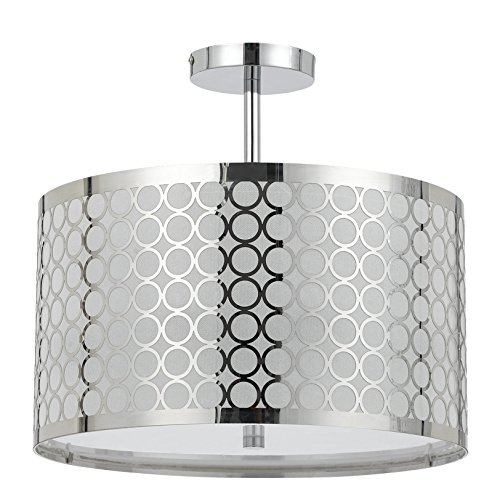 Cal Lighting FX-2293/1C 60-watt X 3 Madrid Metal Framed Drum Semi Flush Pendant Fixture, 9