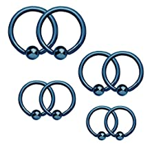 BodyJ4You Captive Bead Piercing Ring Kit 16G Stainless Steel Nose Tragus Lip Nipple Belly Rings 8PC