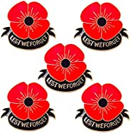 5 Pieces Women Men Poppy Brooches Red Flower Lapel Pins Girls Breastpin Remembrance Memorial Day Gift Lest We