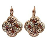 "Mariana""Caramel"" Rose Goldtone Swirl Clover Mosaic Crystal Earrings, Sunset 1319/1 137rg"