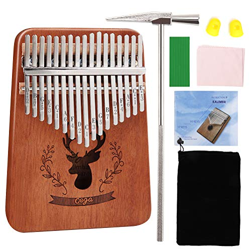 MASCARRY 17 Keys Thumb Piano, Portable Mbira Wood Finger Piano with Tuning Hammer and Study Instruction, Musical Instrument Gifts for Kid Adult Beginners