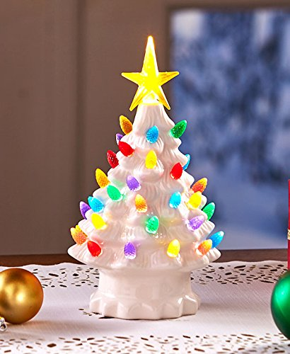 Retro Christmas.Retro Lighted Tabletop Christmas Trees White Small