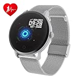 BingoFit Epic Fitness Tracker Smart Watch, Activity Tracker with Heart Rate Monitor, Waterproof Pedometer Watch with Sleep Monitor, Step Counter for Kids Women Men Gifts for New Years (Silver Steel)