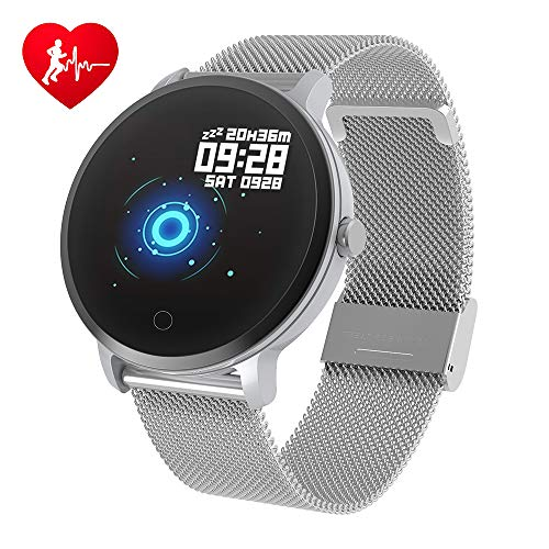 BingoFit Epic Fitness Tracker Smart Watch, Activity Tracker with Heart Rate Monitor, Waterproof Pedometer Watch with Sleep Monitor, Step Counter for Kids (A-Sliver)