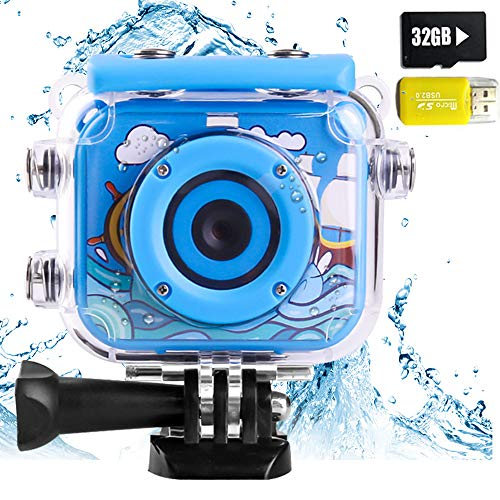 denicer Waterproof Kids Camera with 2.0 Inch LCD Display 12MP HD Action Underwater Children Camera Camcorder with 32G SD Card for 4-12 Boys Festive Gift-Blue