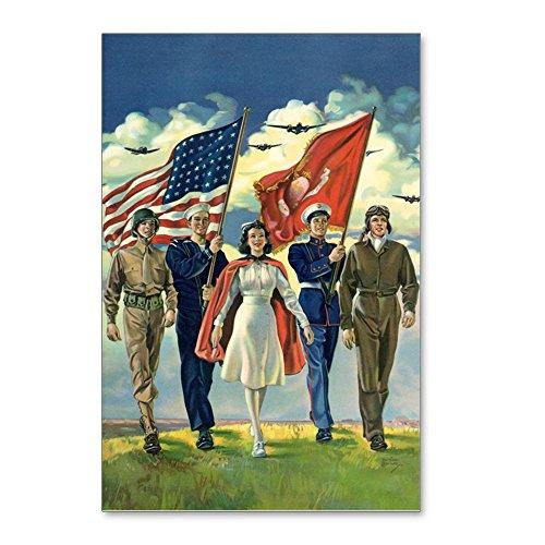 - CafePress - Vintage Patriotic Militar - Postcards (Package of 8), 6