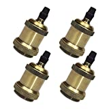 STGLIGHTING 4-Pack Bronze Lamp Socket E26 Vintage Industrial Edison Pendant Light Socket Brass Finished Fixture Replacement