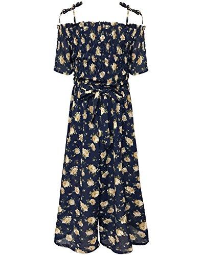 Smukke, Big Girls Floral Printed Smocking Detailed Jumpsuits (Many Options), 7-16 (Navy Multi, 12)