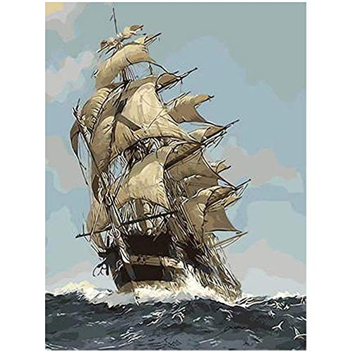Diamond Painting by Number Kit, LPRTALK 5D DIY Diamond Painting Scenery Full Round Drill Sailing Ship Embroidery for Wall Decoration 12X16 inches (Full Drill)