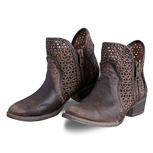 Circle G Women's Cut-Out Short Boot Round Toe Brown 7.5 (Ladies Brown Leather Ankle Boots)