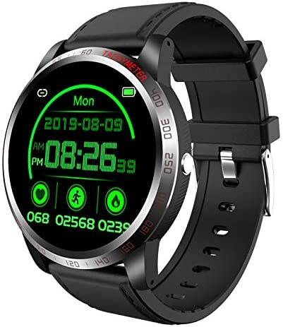 Sports Modes W26 Smartwatch ECG Heart Rate Black Answering Calls with Black Strap Body Temp Monitoring Additional Black//Neon Green Strap included IP68 Waterproof