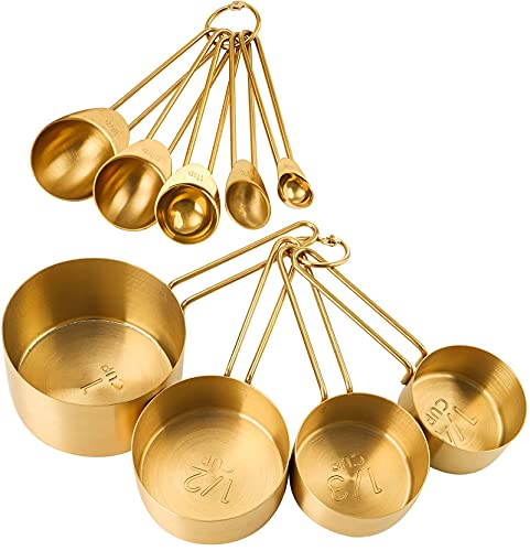 TOPZEA Set of 9 Stainless Steel Measuring Cups and Spoons Set, Stackable Measuring Cup and Measuring Spoon Kitchen Cooking Baking Utensils with Measurement for Dry and Liquid Ingredients, Gold