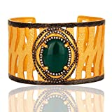 Gold Plated Green Onyx Gemstone Cuff Bangle Bracelet for Women