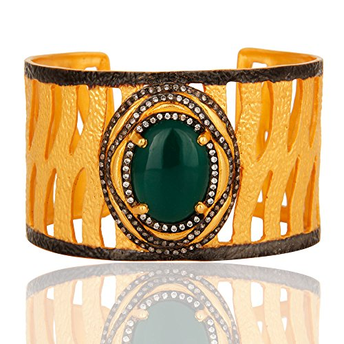 Gold Plated Green Onyx Gemstone Cuff Bangle Bracelet for Women by Dhruvansh Creations