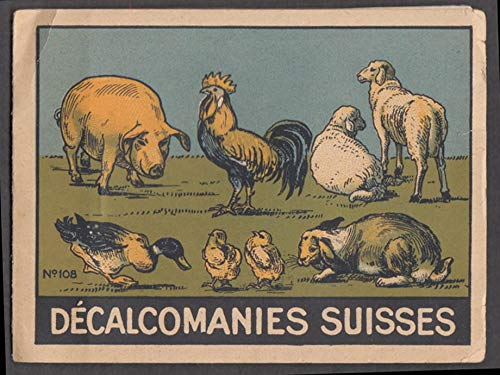 Decalcomanies Suisses Swiss Decal booklet ca 1920s animals birds dogs dinosaurs