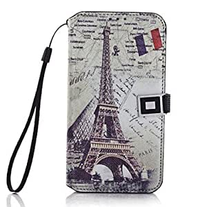 PEACH Eiffel Cramp Iron Pattern PU Leather Full Body Case for Samsung Galaxy S5 I9600(Assorted Colors)