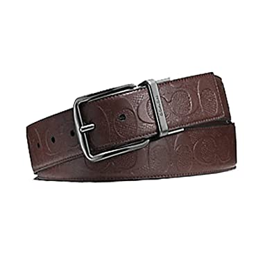 ffe8ca49437 Image Unavailable. Image not available for. Color  Coach Wide Signature  Leather Reversible Belt Cut to Size F55157 Mahogany