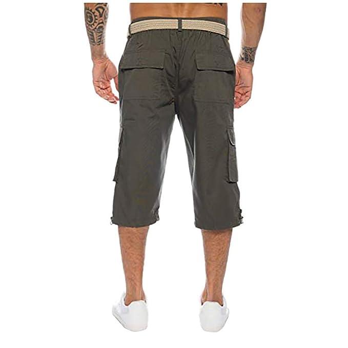 YEBIRAL Pantalones Cortos Hombre, Verano Playa con Bolsillos Cargo ...