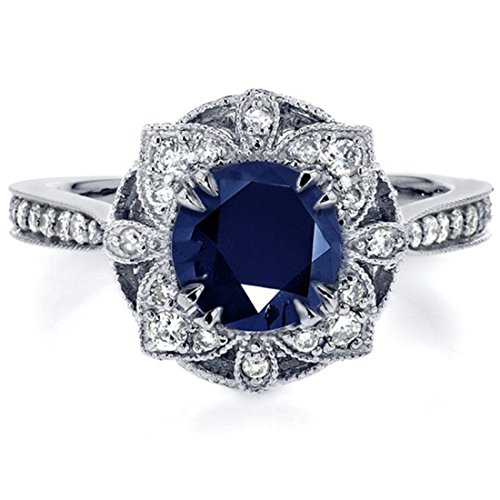 Ring Flower Solitare Band Size 7 Wedding Jewelry Dark Blue Crystal (Crystal Solitare)
