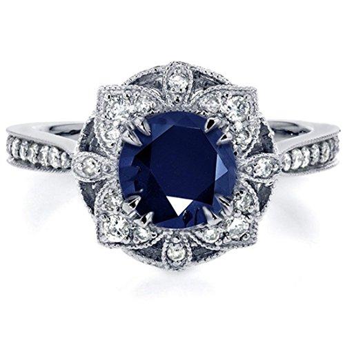 Women Cubic Zirconia Ring Flower Solitare Band Size 7 Wedding Jewelry Dark Blue Crystal