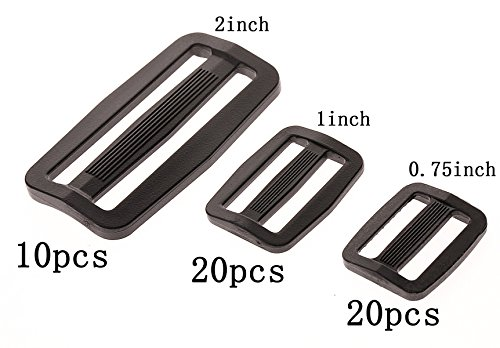 Shapenty 0.75Inch/1Inch/2 inch Black Plastic Tri-Glide Slides Button Adjustable Webbing Triglides Slider Buckle Bulk for Belt Backpack and Bags, 3 Sizes, (Adjustable Sliders)