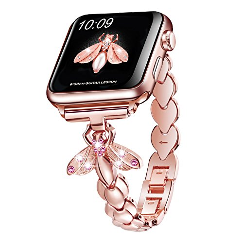 Sangaimei Band Compatible for Apple Watch Band 42/44mm,Wristbands Replacement iWatch Stainless Steel Strap Compatible for Apple Watch Series 4/3/2/1 Sport, Edition(Rose Gold 42/44mm and Pink Diamond)