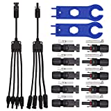 MC4 Connectors Y Branch 1 to 4 Adapter Cable Wire Plug,MC4 Assembly Tool and 5 Pairs Male/Female Solar Panel Connectors