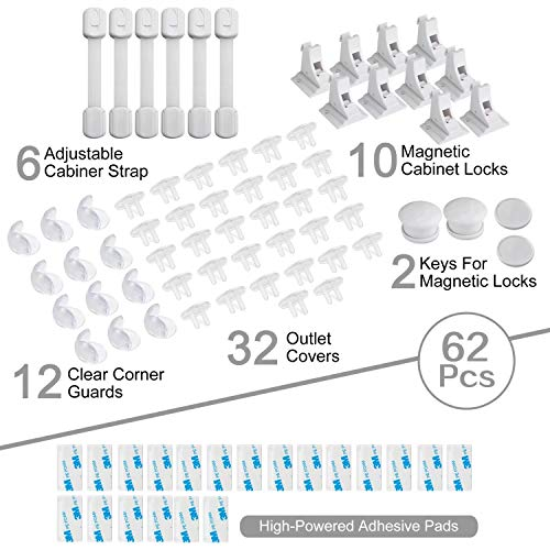 PandaEar Baby Child Safety Proofing Kit 62 Pcs Set, 6 Adjustable Adhesive Cabinet Straps, 12 Clear Corner Protectors Guards, 32 Outlet Plug Covers, 10 Magnetic Cabinet Locks with 2 Keys, No Drill Req