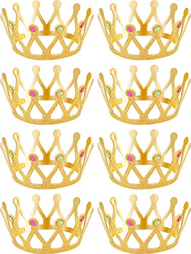 (8 Pieces Gold Crown Royal Queen Crown King and Queen Princess Headwear Jeweled Costume Accessories)
